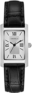 Caravelle Designed by Bulova Women's Stainless Steel Quartz Watch with Leather Calfskin Strap, Black, 16 (Model: 43L202)
