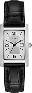 Caravelle Women's Stainless Steel Quartz Watch with Leather Calfskin Strap, Black, 16 (Model: 43L202)