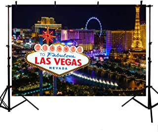 MEHOFOTO Welcome to Las Vegas Photo Studio Booth Night City Banner Backdrops for Photography 7x5ft