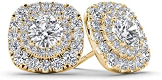 1.39 Ct Round VVS1 Diamond Cluster Halo Stud Earrings 14K Yellow Gold Plated For Women's