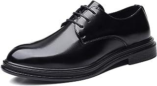 DADIJIER Oxfords Vestido Zapatos para Hombres Llanura 3-Ojo Encaje Encima De Costura Grueso Bloque Tacón De Cuero Sintétic...