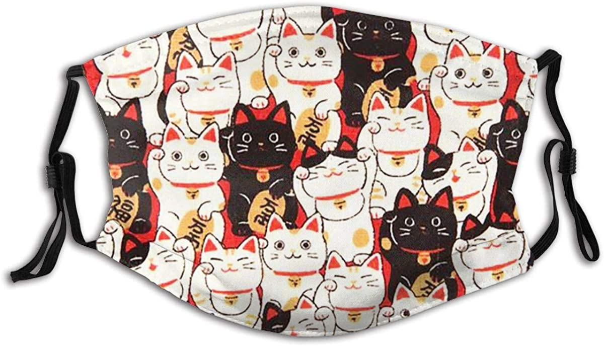 Lucky Cat Face Mask With Filters Reusable Dust Mask Fashion Scarves Balaclava Washable Breathable Cloth Fabric Masks
