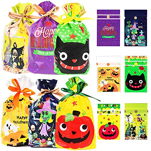 Cymax 72 Pack Halloween Gift Bag with Drawstring,Halloween Treat Bags Cookie Candy Sweet Goody Trick or Treat Bag Pumpkin Ghost Castle Bat Spider Witch Gift Bag for Halloween Party Favor