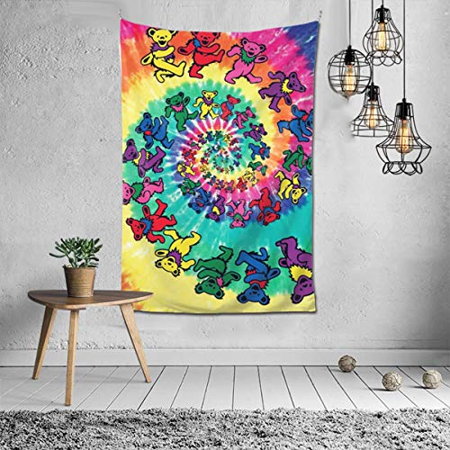 BIAN-61 Tie-Dye Spiral Dancing Bear Tapestry Wall Hanging Tapestry Wall Art Decoration for Bedroom Living Room Dorm Window Curtain Picnic Mat 60X40inch
