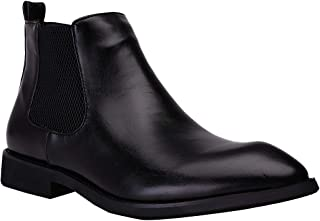 Naihc Mens Formal Dress Casual Chelsea Ankle Boot Twin Elastic Side Panels and Zipper Slip On