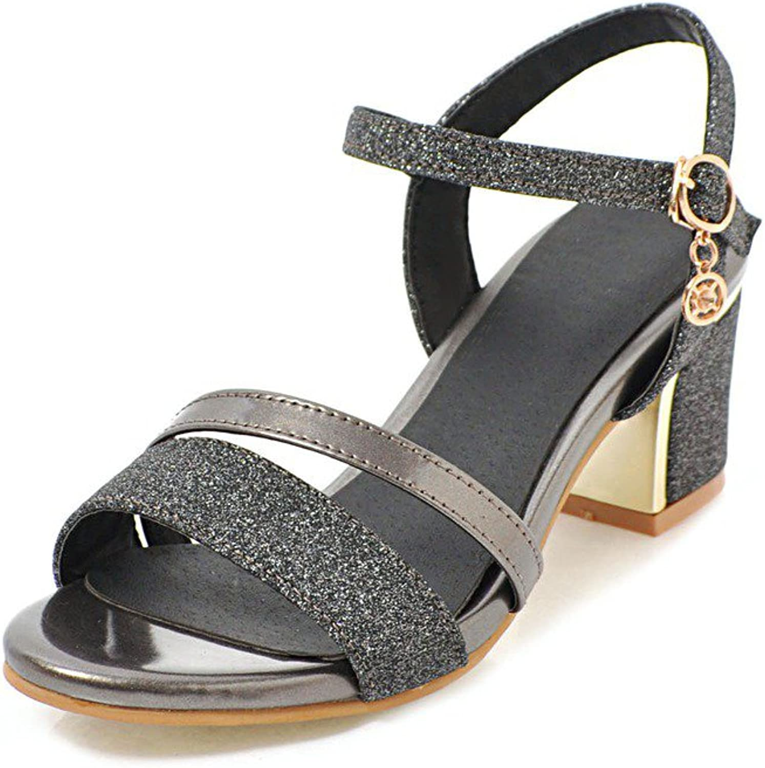 Women's shoes Leatherette Spring Summer Club shoes Sandals Chunky Heel Metallic Buckle for Casual Party & Evening Dress Red Black gold Silver