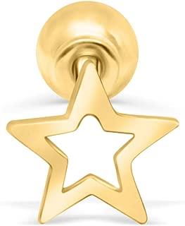14K Solid Gold 5mm Jewelry Kawaii Texas Dallas Star Ear Studs Post Ball Earring Piercing For Women Sensitive Ears