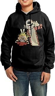 Boys Girls Kids Cartoon Calvin And Hobbes Hoodie Black Cotton Hoodie