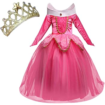 Katara 1742 Costume Bambine Vestito Principessa Aurora La bella addormentata 104//110 Abito carnevali Compleanni