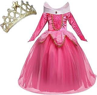 NNDOLL Disfraz de princesa Aurora Sleeping Beauty Dress para Niña pequeña Carnival vestido rosa 2 3 años
