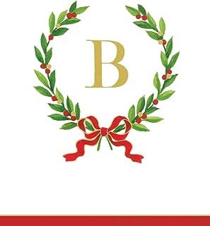 Caspari Entertaining with Christmas Laurel Wreath Monogram initial B Paper Guest Towels, White, Pack of 24, 11 x 20 x 6 cm