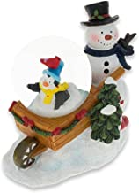 BestPysanky Snowman with Cheerful Penguin and Cardinal Mini Water Snow Globe