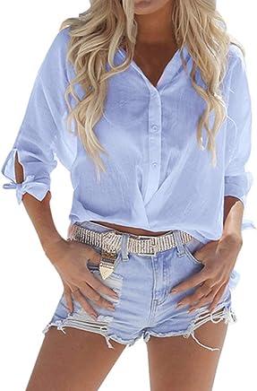 Womens Sexy Loose Short 2019,YEZIJINWomen Summer Beach Solid Basic V Neck Loose Short Button Down Casual Top T-Shirt