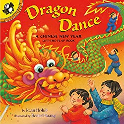 Dragon Dance: A Chinese New Year Lift-the-Flap Children's Book cover with a colorful illustrated Chinese dragon and two kids cheering it on