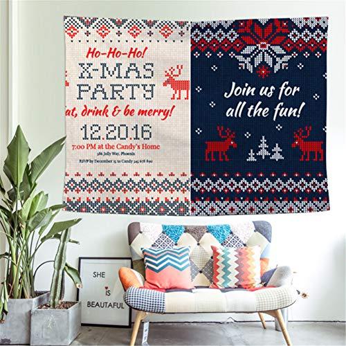 ZSYNB Wandbehang met kerstboom, open haard bedrukt, wandbehang, stof achtergrond, decoratie van polyester, decoratie voor de muur in huis of voor Kerstmis No frame 200x150cm