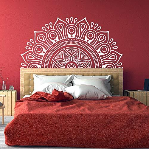 Half Mandala cabecera pared calcomanía Lotus Mandala Zen decoración calcomanía dormitorio Yoga pegatina estilo Boho pegatina de fondo A1 84x42cm