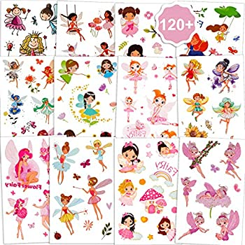 Konsait Flower Fairy Temporary Tattoos For Girls 120+pcs  Garden Fairy Princess Flower Fairy Fake Tattoo Stickers Waterproof Tattoos for Kids Birthday Party Fairy Princess Party Favor Decor Gift