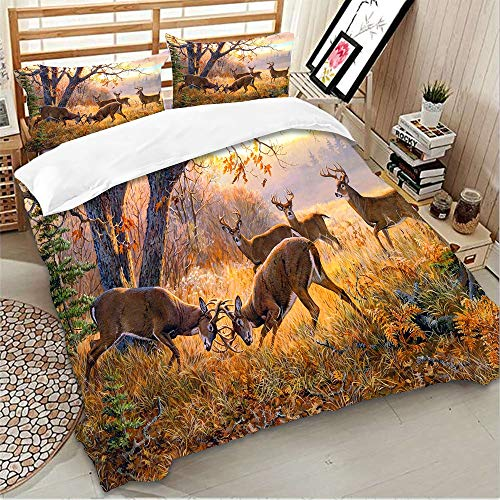 Goodidea Great Outdoor Deer Duvet Cover Set Hunting Wild Animal Autumn Camo Decorative Bedding Quilt Cover Pillowcase Set Soft Breathable Queen Size