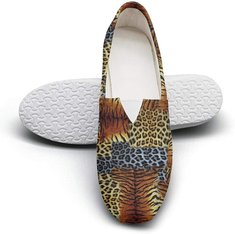 Erdoxo Animal Texture Zebra Texture Leopard Texture Girl Classic Canvas Sneakers Low Cut Comfortable Tennis shoes