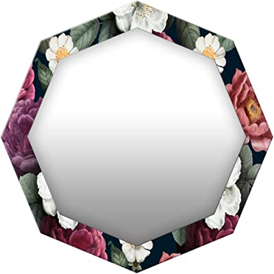 999Store Printed Colorful Roses Octagon Mirror(MDF_24X24 Inch_Multi)