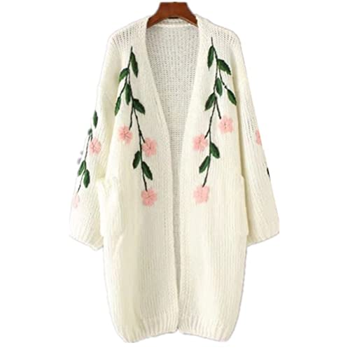 4a227f0c6aaef WoowTry Women s Fashion Embroidered Leaf Floral Cardigan Sweater Long  Sweaters Coat