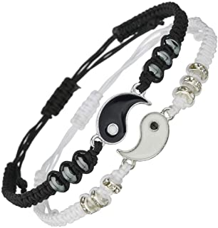 Best Friend Bracelets for 2 Matching Yin Yang Adjustable...