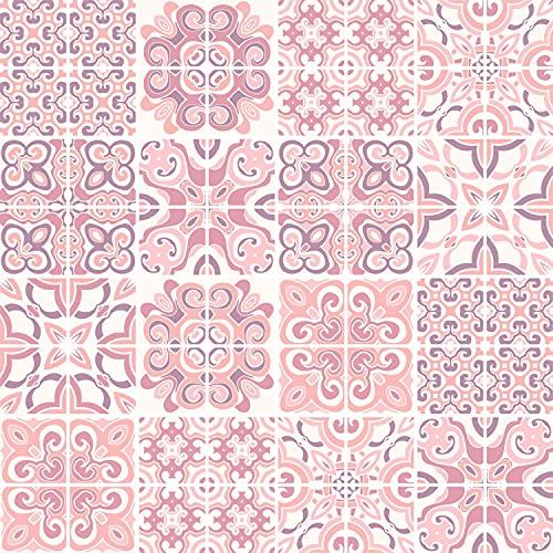 FoLIESEN Adhesivos para azulejos - Lámina para azulejos en el baño - Lámina adhesiva para la cocina - Azulejo Rosado - 64 Azulejos adhesivos, LxA:10x10 cm