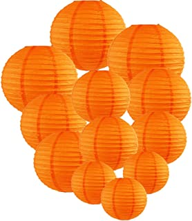 Just Artifacts Decorative Round Chinese Paper Lanterns 12pcs Assorted Sizes (Color: Orange)