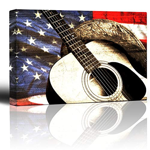 N\A Cowboyhut und Gitarre auf patriotischem Flaggenhintergrund - Woodgrain Image Rustic Americana - Country- und Westernmusik - Canvas Art Home Decor