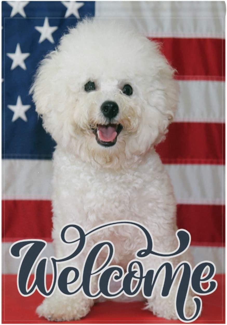 VOUSME Garden Flag Double Sided Durable Bichon Frise Dog USA Flag Decorative Outdoor Flags Perfect for Yard Outdoor Farmhouse for All Seasons