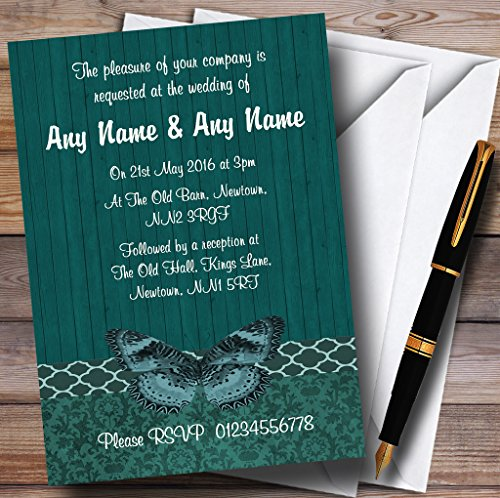 Rustic Vintage Wood Butterfly Turquoise Teal Personalized Wedding Invitations