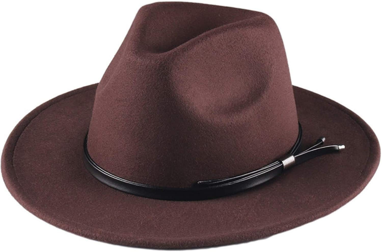 ASO-SLING Womens Woolen Wide Brim Felt Fedora Daily Wear Panama Hat Warm Floppy Wool Jazz Hat for Cold Weather