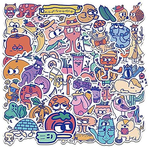 /Lot Retro Dibujos Animados Imagen Graffiti Doodle Verduras Frutas Etiqueta Para Trolley Monopatín Equipaje Caso Portátil 50 Piezas