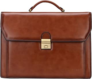 Banuce Vintage Leather Mens Briefcase Lawyer Business Bags Lock Attache Case Tote Handbags Shoulder Messenger 14 Inch Laptop Bag Brown