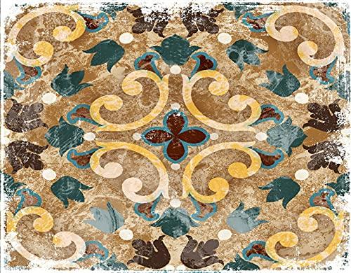 HASENCIV Pintura de Diamante DIY para Adultos Azulejo Azul Geométrico Vintage Italiano Marroquí Patrón Azulejos Antiguo Diseño Cerámico Abstracto Bricolaje Diamond Painting 30x40cm Rhinestone