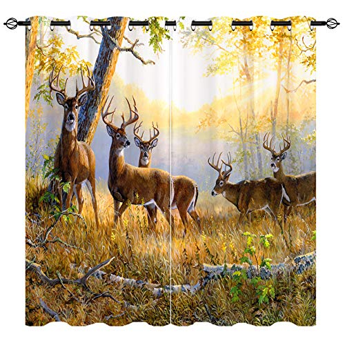 ANHOPE Deer Curtains - Home Decor Window Curtain Panels with 3D Fall Forest Wildlife Elk Deer Hunting Print Pattern, Grommet Art Painting Window Drapes for Bedroom Living Room, 2 Panels, 52' x 72'