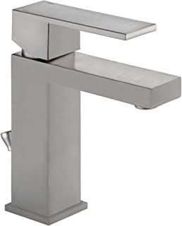 Delta Faucet Modern Single Hole Bathroom Faucet Brushed Nickel, Single Handle Bathroom Faucet, Drain Assembly, Stainless 5...