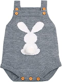 hirigin Baby Boy Girl Bunny Knitting Wool Romper Jumpsuit Sleevelss