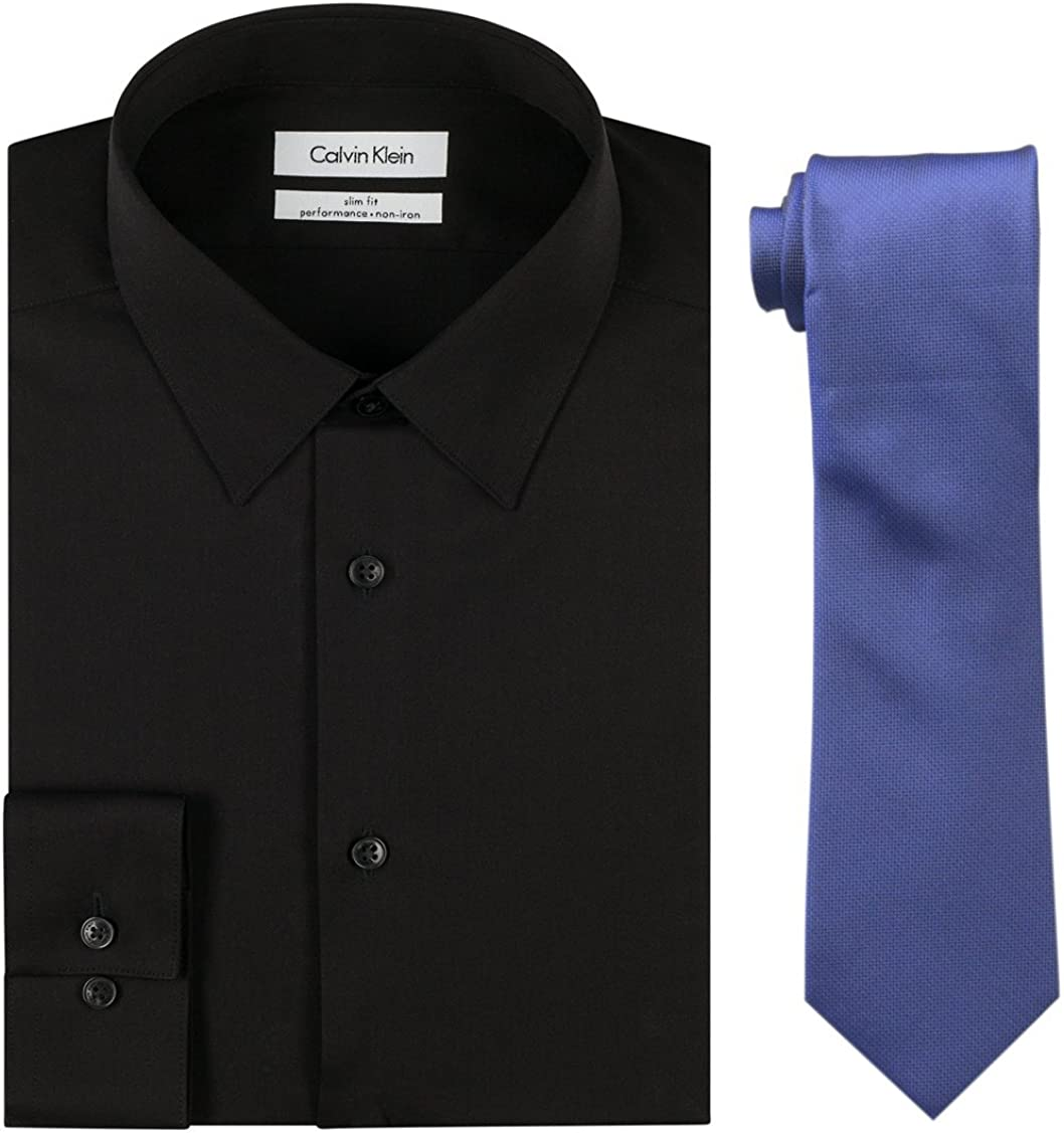 Calvin Klein Men's Fees free!! favorite Slim Fit Herringbone Shirt S Silver and Dress