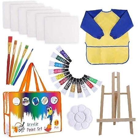 ZYCX123 Niños de la Pintura del Dibujo del Sistema Kit de Suministros de Pintura Cepillos Lienzo Paleta de Caballete Art Crafts para la Ducha Bebé