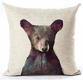 Andreannie Nordic Simple Ink Painting Watercolor Animal Adorable Bear Cotton Linen Throw Pillow Case Personalized Cushion ...
