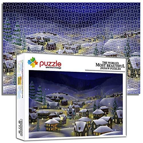 Generichaoge Puzzle Für Erwachsene Hochwertige Für Ab 14 Jahren Kinder Jigsaw Puzzle 1000 Teile Weihnachtsbaustadt Schneeszene Geschicklichkeitsspiel Für Die Ganze Familie 29.52 X 19.68 Zoll