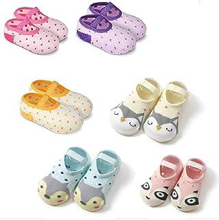 ZOCONE 6 Pairs Baby Girls Non-Skid Slip Baby Shoe Socks Non Slip Shoe Socks for Baby Girls Toddler Animal Socks 12-36 Months Babies