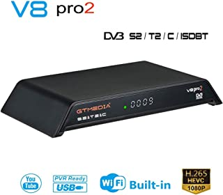 GT MEDIA V8 PRO2 Decodificador TDT Receptor TV Satelite Digital Terrestre Cable DVB-S2/S2X DVB-T2 DVB-C, WiFi / Ethernet / 1080p Full HD / H.265 HEVC Soporte PVR Youtube CC CAM