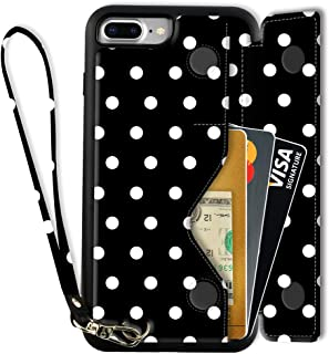 iPhone 8 Plus Wallet Case, iPhone 8 Plus Card Holder Case with Wrist Strap, ZVEdeng iPhone 7 Plus Printed Case, iPhone 8 Plus Flip Cover Case - Polka Dot