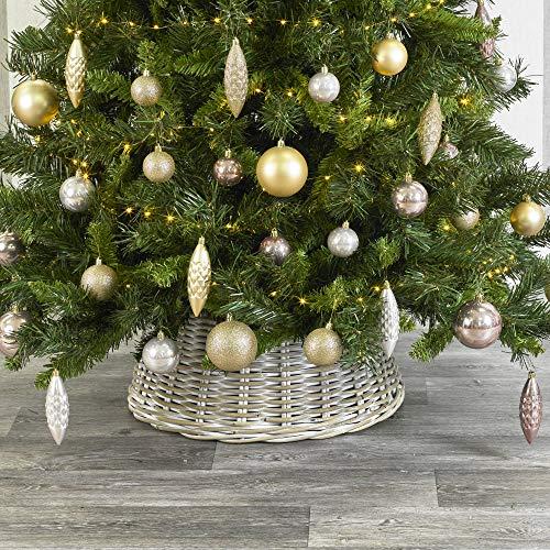 URBNLIVING Weihnachtsbaum-Rock, mittelgroß, aus natürlichem Bambus oder weißgetünchtetem Weidenholz, 26 x 50 x 50 cm Whitewash