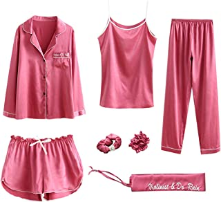 Women Pajama Sets 7pcs Hair Band and Hair Ties Short and Long Sets Sleepwear Ladies