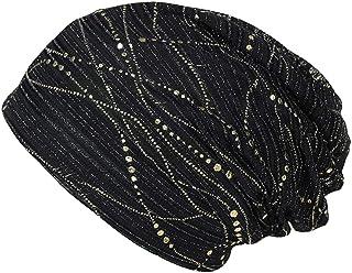 KESYOO boné casual de algodão turbante com faixa de cabeça para adultos (preto)