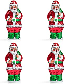 Madelaine Chocolates, Highly Detailed, Premium Solid Milk Chocolate Santa - Christmas Candy Decorations - Wrapped In Italian Foil - 2 OZ (4 Pack)