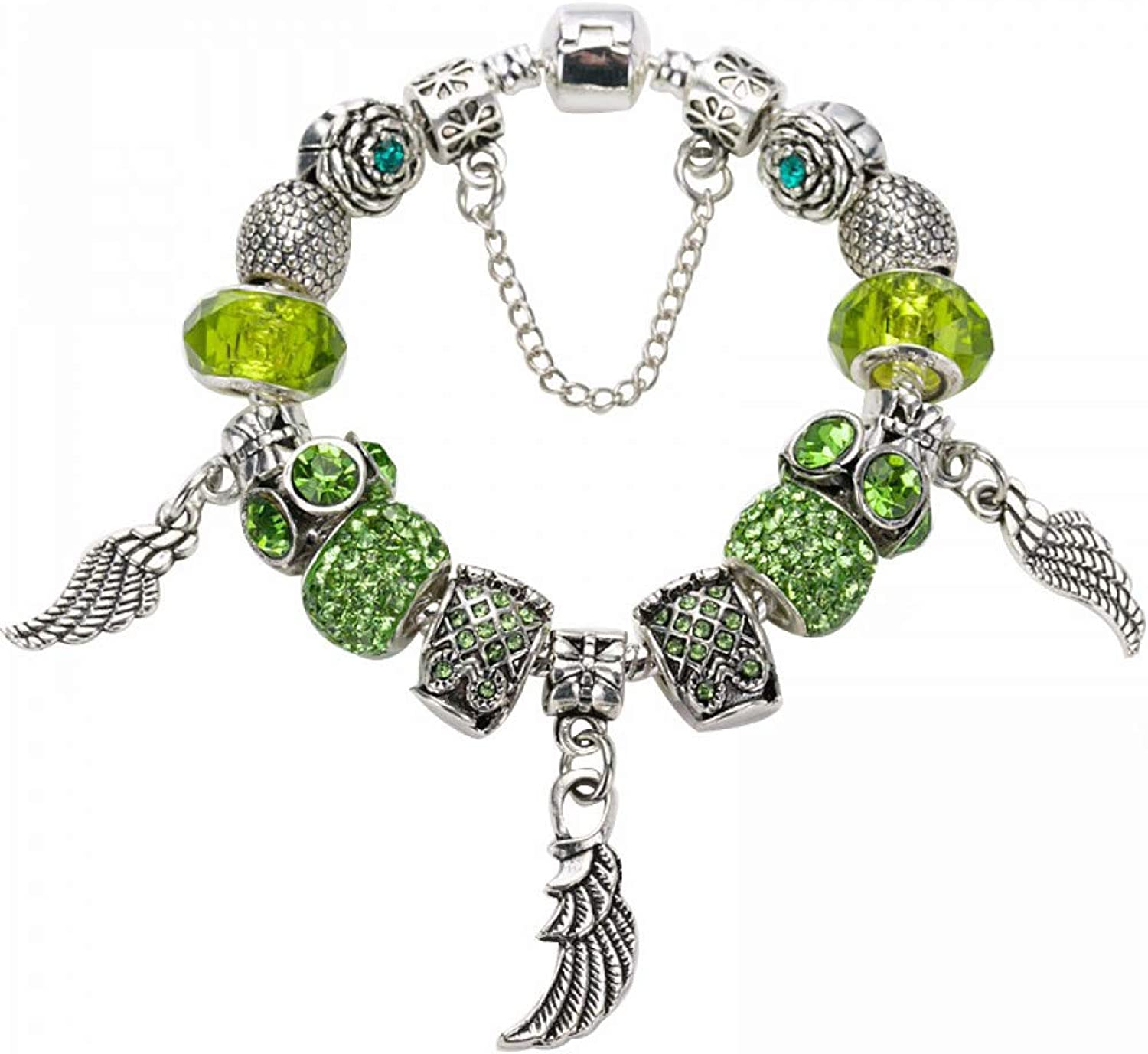 GSYDSZ Silver Plated Charm Bracelets with Crystal&Glass Feather Dangles Fit DIY European Brand Bracelet for Women Gift